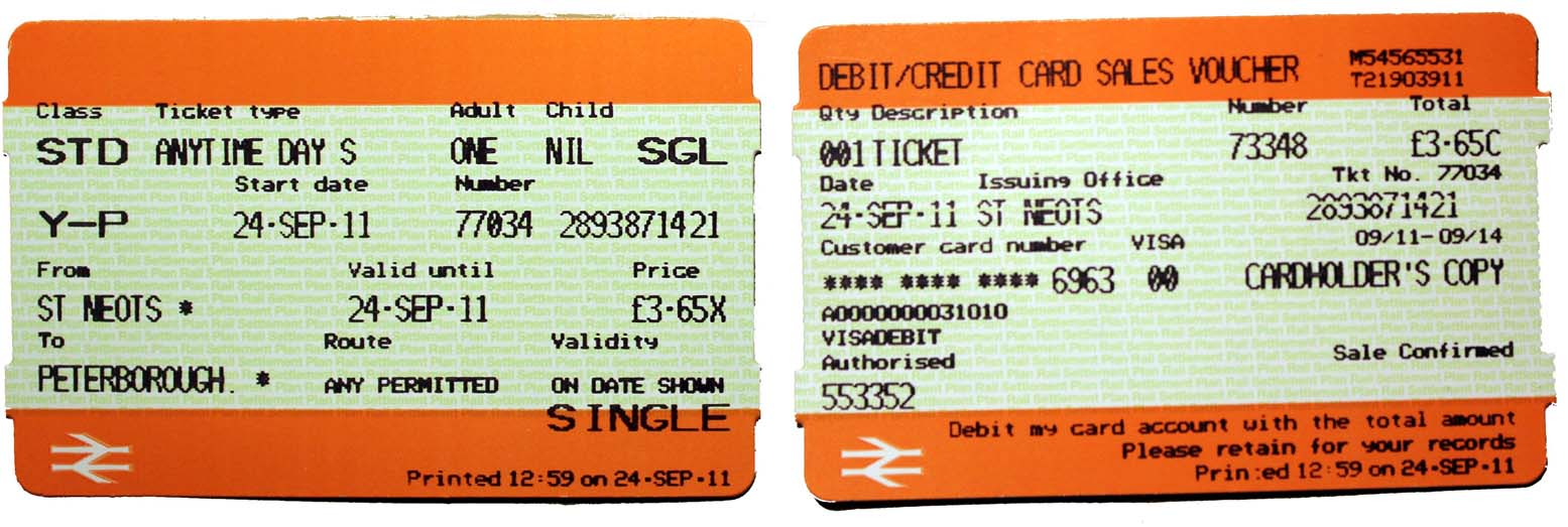 The current National Rail Ticket