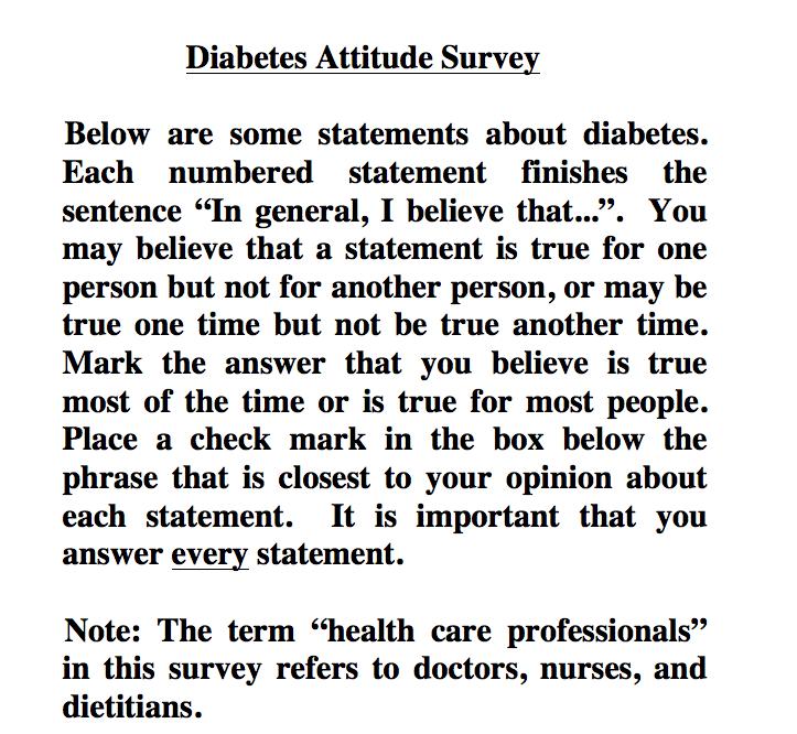 Feedback on the Modified Diabetes Attitude Scale (DAS) Survey