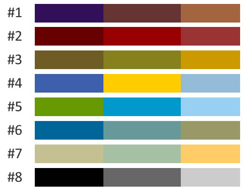 Note that this is to help with the design process and these colors or combinations may not be the exact colors used on our website.