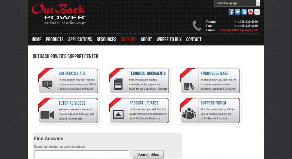 OutBack Power Support Site Landing Page