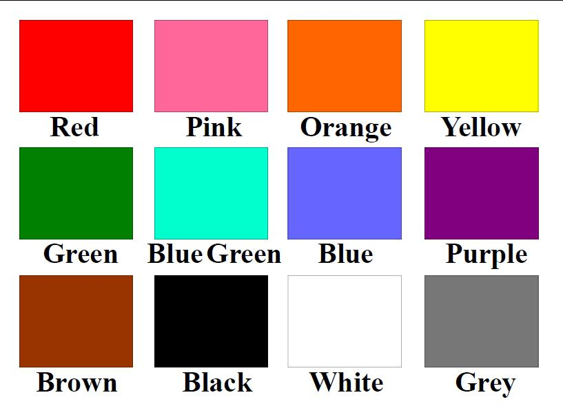 "For the next question, #11, please use the following color chart as ""examples"" of colors only.<br>"
