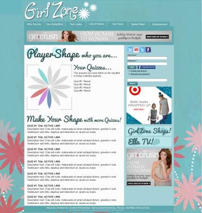"Here is a rough mock-up of a new feature for the new girlzone.com.  We need your help coming up with a new name for this.  Working title is ""Player Shape"" and it represents a series of personality quizzes.  Each petal of the flower/shape will relate to one element of a girl's life/personality.<br><br>"