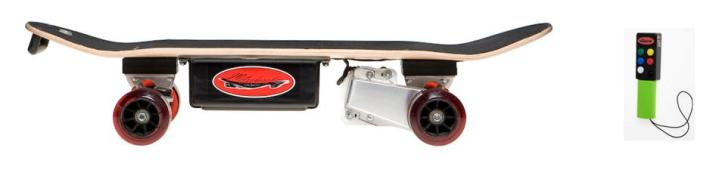 This is a Metro-Board electric skateboard made by Kef Design LLC. This skateboard will go up to 15 mph, with a range of 12 miles with a full charge (charging takes about 4 hours). The skateboard's speed is controlled via a wireless remote with 3 different speeds and 2 braking levels.