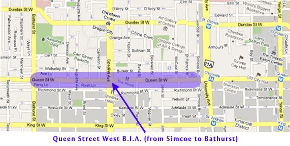 Please answer the following questions concerning Queen Street West from Simcoe to Bathurst (as designated on the map).