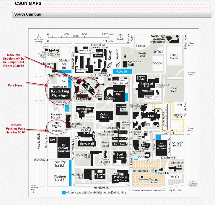 Parking permits are required Monday through Sunday and MUST be displayed properly at all times! Visitor parking permits are available for $6 per day from a parking permit dispenser or from one of the information booth attendants. See the map below for details.