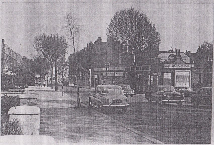 Finchley Road pre early 1960s  - with wide pavements and tree-lined