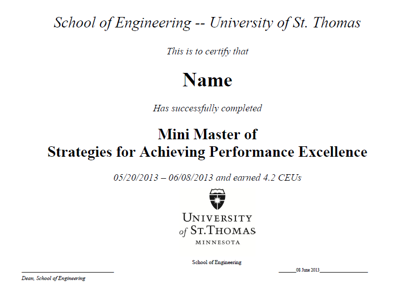Sample of the certificate given upon completion the course