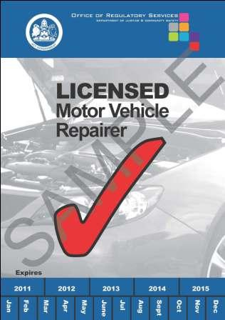 An example of the blue sticker registered motor vehicle repairers are required to display.