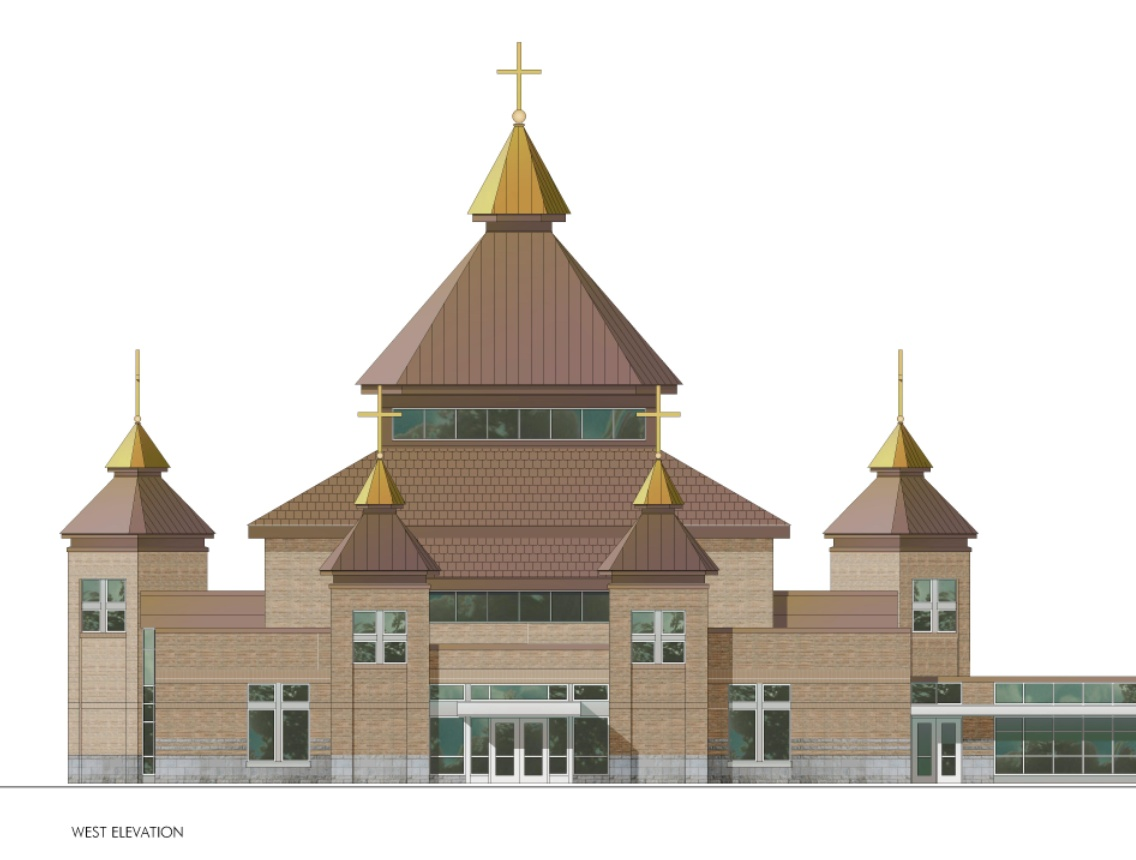 tserkva survey external church design west view from parking lot main entrance working with a non traditional church floor plan presents a challenge in developing a
