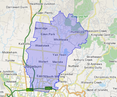 Focus area of City of Whittlesea survey (Map source: Australian Bureau of Statistics, 2011)