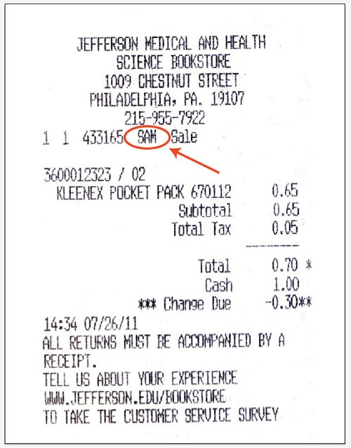 This is a sample receipt with the salesperson's initials circled.  Please use this as a guide to find the salesperson's initials on your receipt and answer question #5.