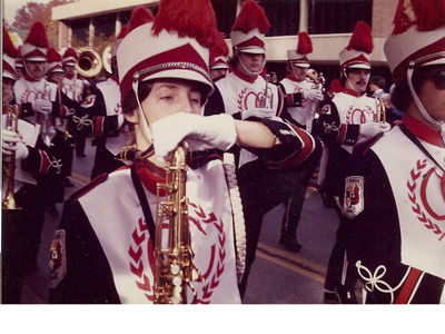 Photo 2<br>Fall 1980<br>Cardinal Marching Band parading past the library<br>Submitted by: Cindy Jackson Mash '81
