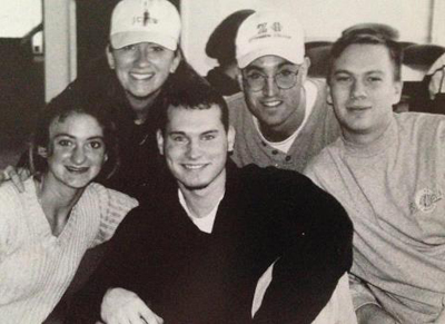 Photo 4<br>Me and a few of my friends hanging out in the Campus Center! Circa 1996-97 #FoundersWeekPhotoContest Karey West, April Kinkade Walters '98, Josh Funk '98 and Steve Cawley '98.<br>Submitted by: Karey West '98