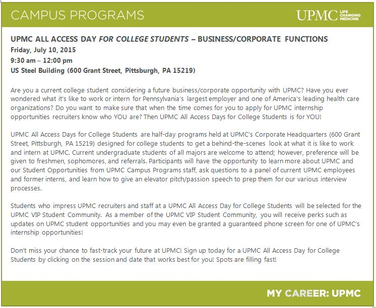 UPMC All Access Day for College Students Business/Corporate