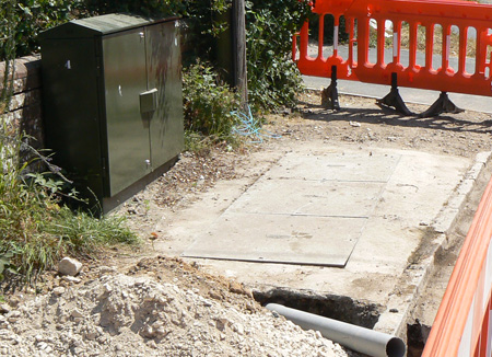 Fibre optic cabinets and cabling were installed in Corfe Road Stoborough in July 2013