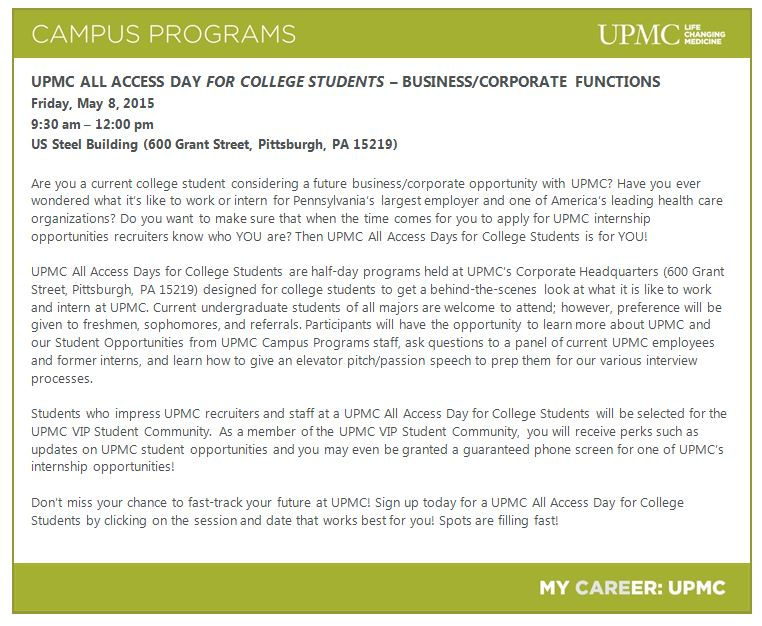 UPMC All Access Day for College Students - Business