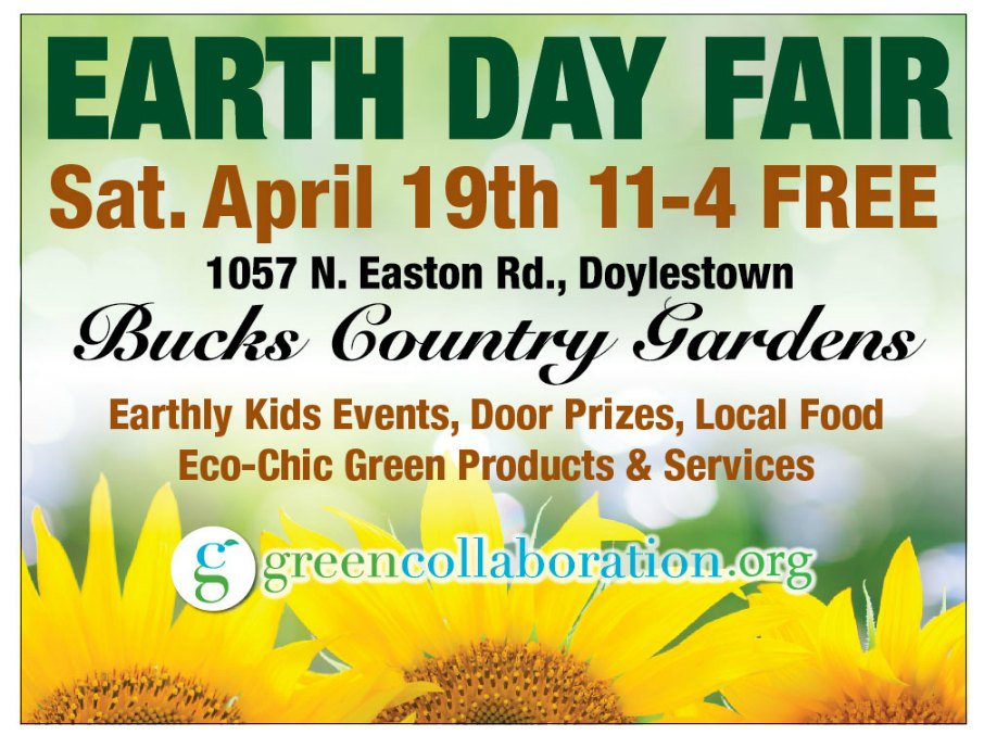 Spring is a busy and exciting time at the garden center! Last year over 300 visitors attended our 2013 Earth Day Fair. Help us promote this exciting FREE event and share the green living in our community. Join us on Facebook and Share event announcements with your friends and following.<br><br>Saturday ~ April 19, 2014, 11am - 4pm<br>Bucks Country Gardens<br>1057 N. Easton Rd., Doylestown, PA<br><br>For questions, contact Lyn Hicks at Lyn@harmonyhillgardens.com, 215-813-4073.<br><br><br><br>