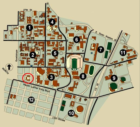 Campus Map<br>The AT&T Executive Education and Conference Center is circled in red.  <br><br>Additional directions are available at http://www.meetattexas.com/maps-parking.html.