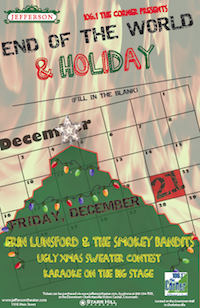 "WCNR invites you to the End of the World Karaoke Holiday Bash, ft Erin Lunsford and the Smokey Bandits<br>The Jefferson Theater<br>Friday, December 21, 2012, 8:00pm Doors / 9:00pm Show<br>FREE!<br><br>JOIN THE NON-STOP PARTY:<br>- Special tunes from Erin Lunsford & The Smokey Bandits<br>- KARAOKE 'til the wheels fall off… forget singing in the shower<br>- Get Festive with Christmas Movies on the big screen<br>- Tacky Christmas Sweater Contest<br>- Wear a Sweater, Give a Sweater Christmas Drop off<br>- Holiday Drink Creations<br><br>You will receive email confirmation before the show upon RSVP submission.  This RSVP does not guarantee entry and we suggest you arrive early. There are no in's & out's. If you exit the venue and wish to re-enter, you must re-enter the line if there is one. <br><br>Click ""Done"" below to submit your RSVP.  Survey Monkey will direct you to their homepage, but rest assured your RSVP has been submitted.  Your confirmation email will arrive a few days before the show.<br><br>Please email info@jeffersontheater.com with any questions."