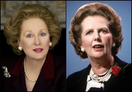 Former British Prime Minister Margaret Thatcher and Meryl Streep, the actress who will play Thatcher in the upcoming 2011 movie, The Iron Lady.