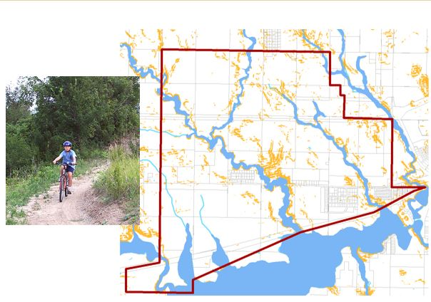 Potential community trails along 100-year floodways<br>