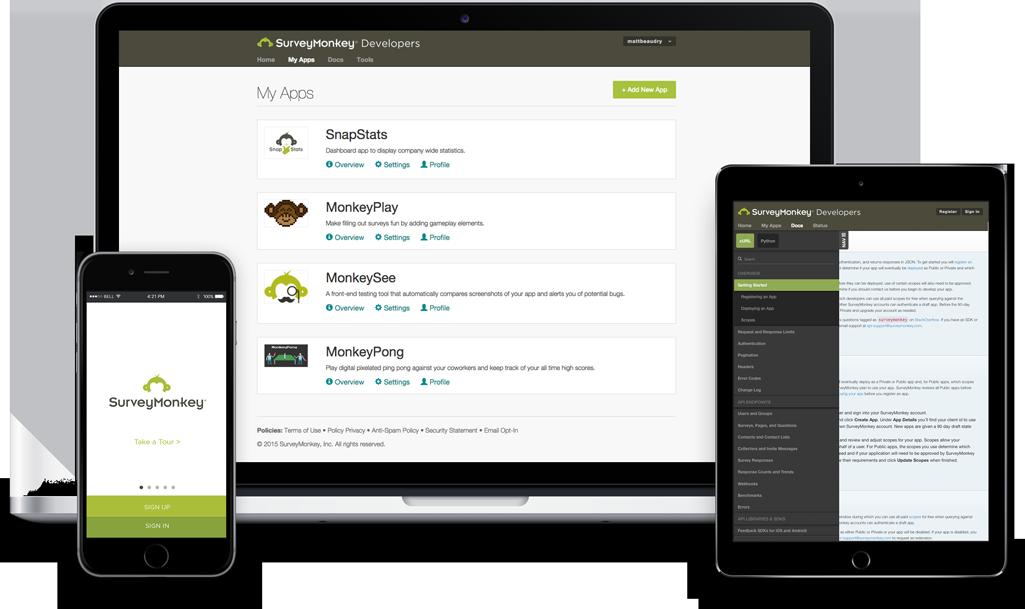 Screenshots of the SurveyMonkey Developer Portal
