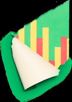 bar graph behind paper tear