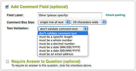 SurveyMonkey - Simple yet advanced answer validation options.