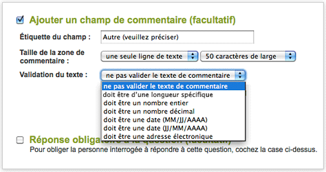 SurveyMonkey - Options de validation de réponses simples, mais avancées.