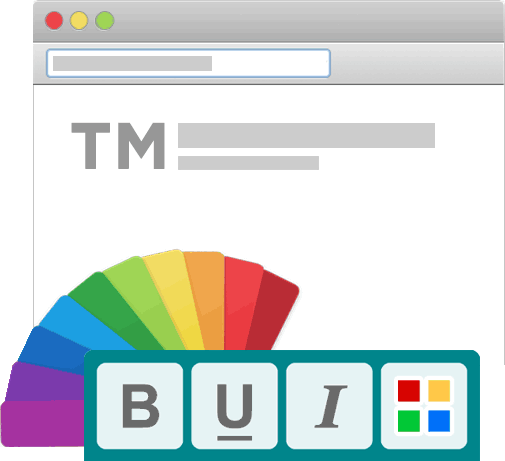 Showing a browser with different color and formatting options