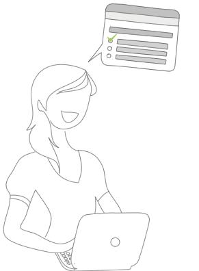 Ilustración de encuestas de opinión sobre productos