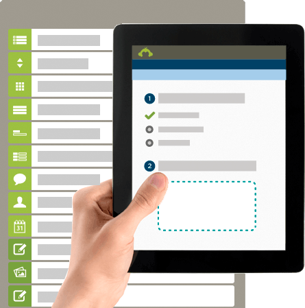 Tablet displaying SurveyMonkey's create process