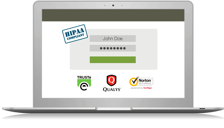 Shows a computer with 'Norton Secured', Qualys, Truste, and Hippa Compliance badges