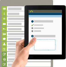 Tablette affichant le processus de création de SurveyMonkey