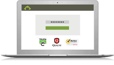Affiche un ordinateur protégé par l'antivirus Norton, Qualys et des badges de TRUSTe